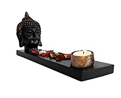 TiedRibbons® Buddha Tlight Holder with Tray Set with T-light Candle