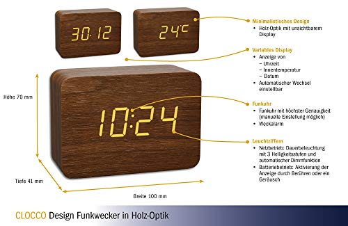 TFA Dostmann Design Funk-Wecker in Holz-Optik Clocco, 60.2549.08, Kunststoff, braun/orange