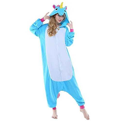 Tier Schlafanzug Damen Herren Cartoon Fasching Pyjama Fleece Overall Onesie Jumpsuit mit Reißverschluss Halloween Kostüm Erwachsene Karneval Cosplay - BienBien