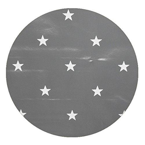 DecoHomeTextil Wachstuch Sterne Glatt LMKV RUND OVAL Rund 138 cm Grau abwaschbare Tischdecke Weihnachten (Und Türkis, Tischdecke Braun)
