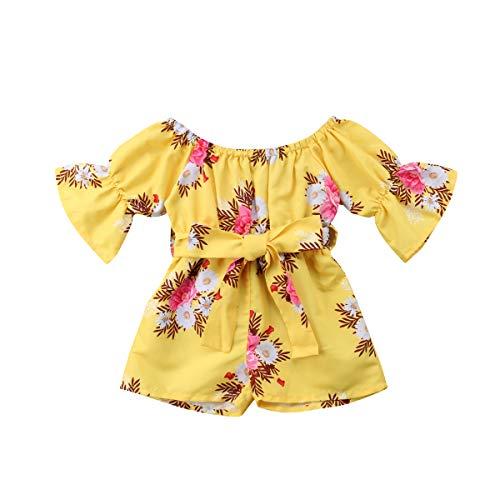 Kleinkind Baby Mädchen Einteiliges Langarm Off-Schulter Bund Ethnische Blumendruck Strampler Outfits Kleidung (3-4 Jahre, Gelb) (Schule Outfits Für Für Mädchen Die Niedliche)