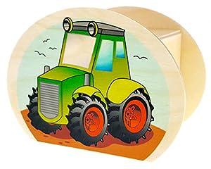 Hess Holzspielzeug 15227 - Hucha de Madera con Llave, Tractor, Regalo de cumpleaños para niños, Aprox. 11,5 x 8,5 x 6,5 cm