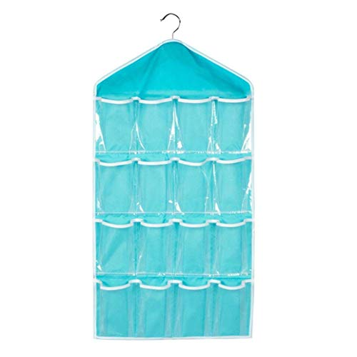 OxbOw® Multifunction Clear 16 Pockets Socks, Shoe, Toy, Underwear, Slippers, Jewelry Sorting Storage Bag Door Wall Hanging Closet Organizer (Blue)