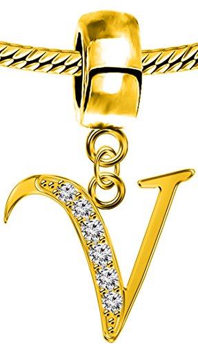 Alpha Alphabet Bead (Compatable Pandora Silber Charms,18K vergoldet, passend für Pandora,Chamilia und Troll Anhänger)