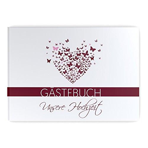 Gästebuch Hochzeit ohne Fragen Hochzeitsgästebuch weiße Seiten Butterfly Heart bordeaux Hardcover