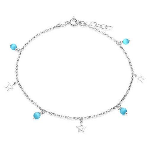 Öffnen Sterne Charm Aqua Blau Katzes Eye Bead Armband Fußkettchen Für Jugendlich Damen 925 Sterling Silber Verstellbar