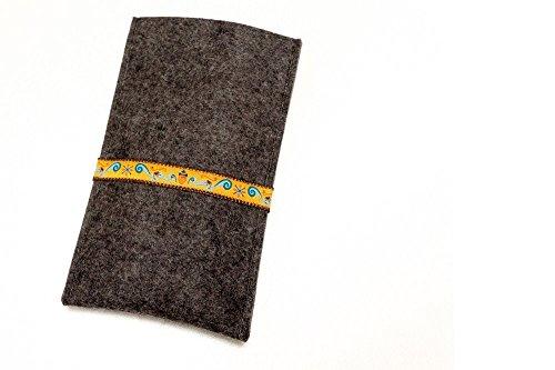 flat.design für Doogee S60 Lite Schutz Hülle Handytasche Lisboa mit Webband Eichhörnchen - handgefertigte Handyhülle Schutz Case aus 100% Wollfilz (anthrazit) für Doogee S60 Lite
