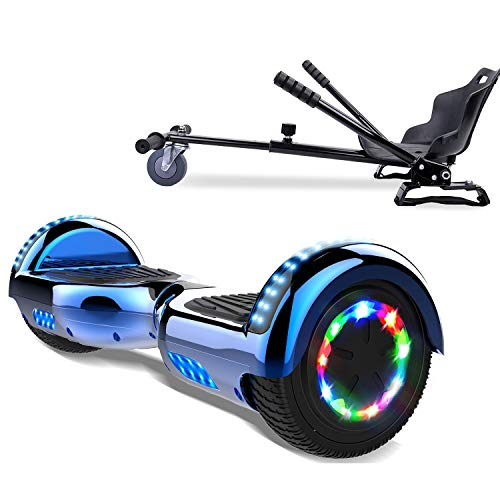 COLORWAY Overboard Hover Scooter Board Gyropode Bluetooth SUV 6.5 Pouces, Scooter Electrique Moteur 700W Tout-Terrain, Self-Balance Board avec Roues LED Flash + Hoverkart (Bleu Kar Noir)