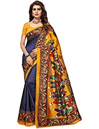 PRAMUKH STORE Shardha Navy Saree For Women's Mysore Art Silk Saree With Blouse Piece,Navy And Multi Color Saree