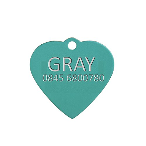 Aluminium Herz Hundemarke Grün Klein inkl gravur und schnellen kostenfrei Lieferung (Bieten Sie Ihren Gravur Anweisungen als Geschenknachricht) -