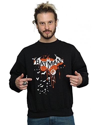DC Comics Hombre Batman Arkham Knight Halloween Logo Art Camisa De Entrenamiento Large Negro
