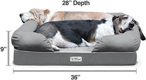 PetFusion Hundebett und -Lounge. Premium Edition aus stabilem Kaltschaum mit Memory-Effekt (Grau, 92 x 71 x 23 cm) – [Ersatzbezüge erhältlich] - 2