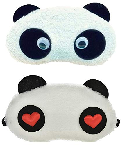 24x7 eMall Soft Fabric Heart Panda Sleeping Eye Mask for Complete Black Out - Set of 2