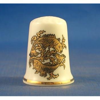 Porzellan China zum Sammeln Fingerhut Gold Sternzeichen -Scorpio The Scorpion