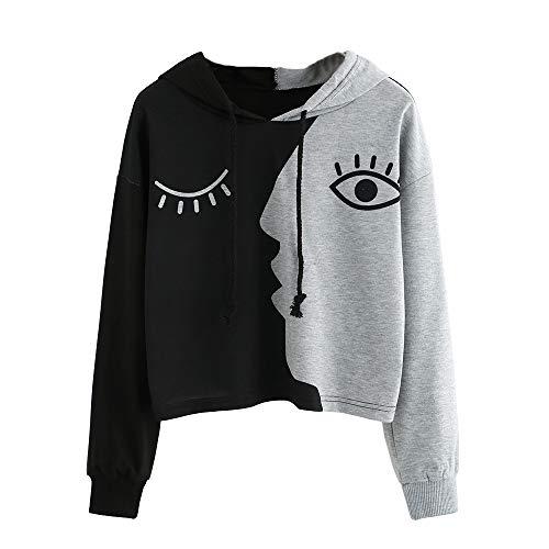 BaZhaHei Frauen Damen Sweatshirt mit Kapuze Langarm Crop Patchwork Bluse Pullover Tops Schwarze Asche Spleißendes Gesicht Lange Ärmel Sweatshirt