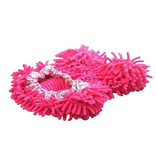 Aohro Multi-Funktion Chenille Fibre Waschbar Staub Mop Hausschuhe Schuhe Bodenreiniger, Hot Pink (Hot Mop)