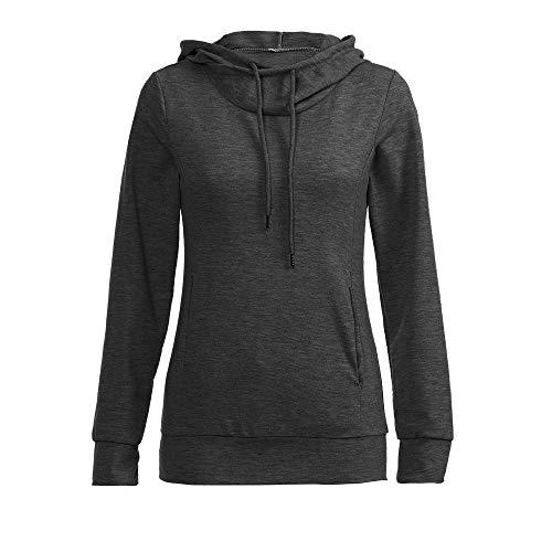 r Damen 2018 Mode Langarm Pullover mit Kapuze Tasche Sweatshirt Tunika Tops ()
