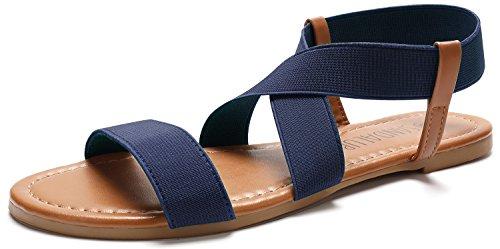 SANDALUP Damen Elastische Sandalen, Blau, EU 40/ UK 07
