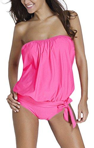 OLIPHEE Damen Zweiteilig Bandeau Tankini Bandeanzüge Trägerloses Verband Bodysuit Bademode mit Slips Pink M