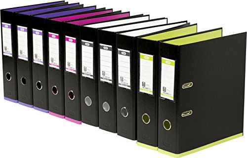 ELBA 100023639 Ordner myColour 10er Pack Kunststoffbezug außen und innen 8 cm breit DIN A4 zweifarbig schwarz sortiert, schwarz/violett, schwarz/pink, schwarz/weiß und schwarz/hellgrün