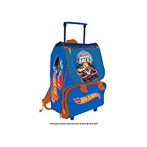 MC Mochila con Ruedas Extensibles Hot Wheels, Mochila para niños, 40 cm, Azul