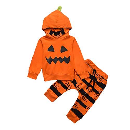 Writtian Neugeborenes Kleinkind Kinder Halloween Kostüm Kürbis Motiv Baby Overalls Mädchen Neugeborenes Schädel Gedruckt Toddlern Halloween Langarm Gestreift Hosen (Kind Schädel Gesicht Kostüm)