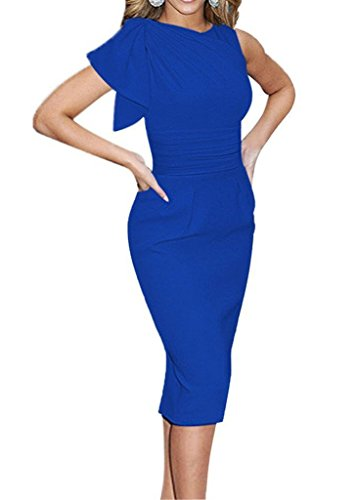 Minetom Femme Robe Elegant Manches Plissées Volants Slim Crayon Moulante Pencil Cocktail Party Robe Bleu
