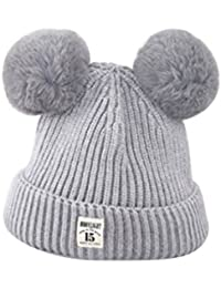 66b258849d0 ZHOUBA Baby Boys Girls Bobble Knit Beanie Hat Plush Ball Ears Toddlers  Winter Warm Double Pompom