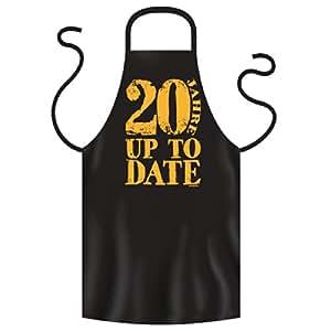 20 Jahre Geburtstag Fun Grill & Koch Schürze, Schwarz <-> 20 Jahre UP TO DATE <-> Ideales Geschenk zum runden Jahrgang