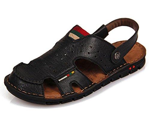 Il nuovo arrivo sandali della spiaggia morbida in pelle per uomo, fatti a mano scarpe estive Vera Pelle Maschio, Retro Classics cucito Pantofole per gli uomini 2