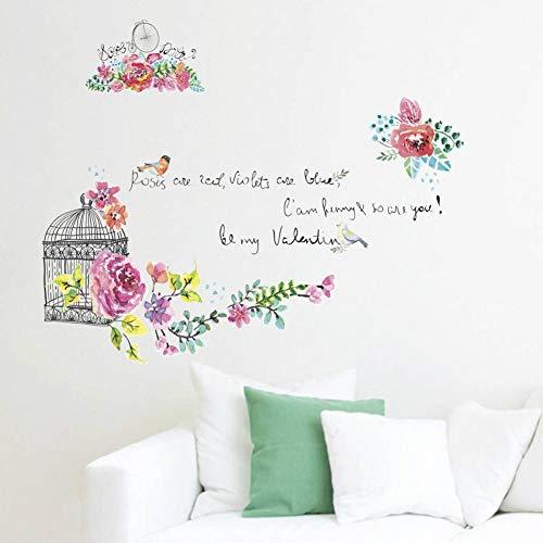 SXXDQT Wohnzimmer Schlafzimmer Wandschrank Dekorative Wandaufkleber Blume Vogelkäfig Wand Hintergrund Wandaufkleber Flache Wandaufkleber -