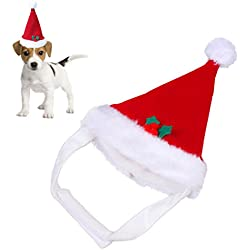 Rojo Caliente Navidad Mascota Santa Hat Felpa para Mascotas Perrito Gatito Perros Gatos Suave Festivales Fiestas Fiestas Vestuario Accesorios de ropa (sombrero de mascota)