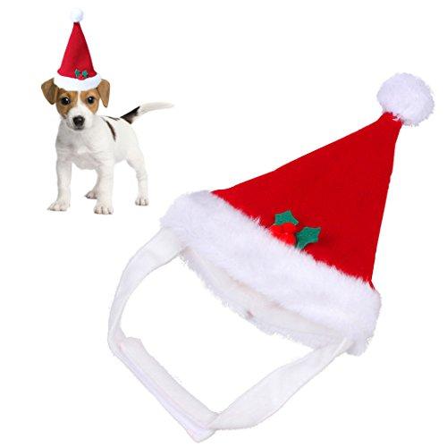 Red Warm Christmas Pet Santa Hut Plüsch für Haustiere Welpen Kitten Hunde Katzen Soft Urlaub Festivals Parteien Kostüm Bekleidung Zubehör (Haustier (Katze In Kostümen Hut Hat Den)