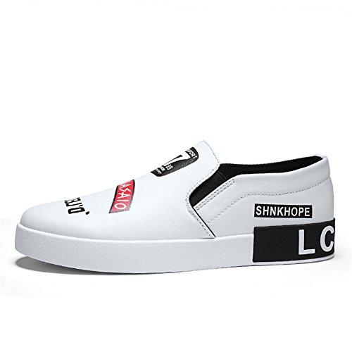 Herrenschuhe, Neue Sommer Herren Deck Schuhe, Academy Low-Top kleine weiße Schuhe, Casual Slip auf Loafers, Faule Schuhe (Farbe : EIN, Größe : 42) -