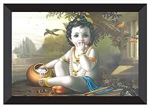 SAF 'Kanha' UV Teatured Digital Reprint Framed Painting (11 inch X 14 inch) SANFK67