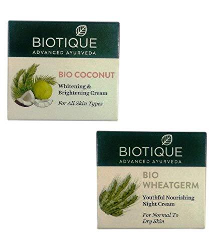 Biotique 1 Bio Coconut Whitening and Brightening Cream, 50 g and 1 Bio Wheatgerm Youthful Nourishing Night Cream, 50 g