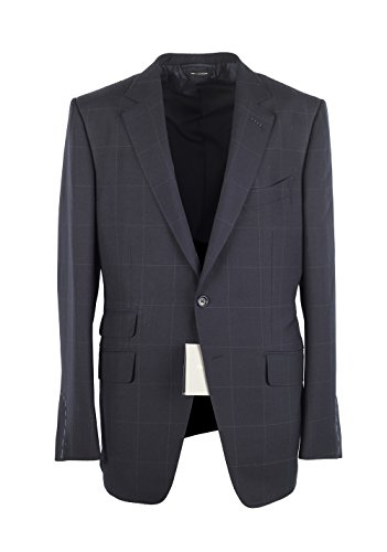 CL - TOM FORD O'Connor Checked Blue Suit Size 52 / 42R U.S. Wool Mohair Fit Y