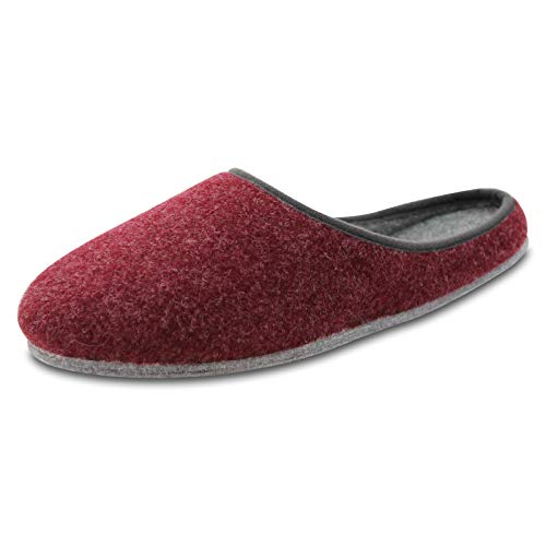 OLShop AG Damen Rot Filz Pantoffeln mit Filzsohle Gr. 42 - Kurze, Breite Mülltonne