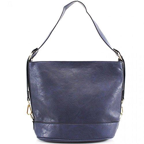 LeahWard Damenmode Qualität Schultertasche Herrlichelang Kunstleder Tasche CWS00450 CWS00487 Marine H53cm x W37cm x D17cm