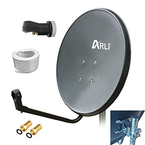 60 cm SAT HD Anlage Digitale Single LNB 20 m Kabel Antenne 1 Teilnehmer 3D 4K GRAU