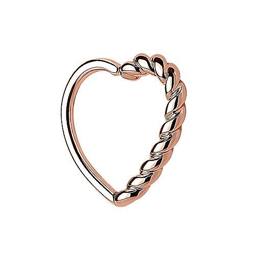 Piercingfaktor Continuous Piercing Ring mit Herz Geflochten gedreht für Septum Tragus Helix Ohr Cartilage Knorpel Ohrpiercing Rosegold