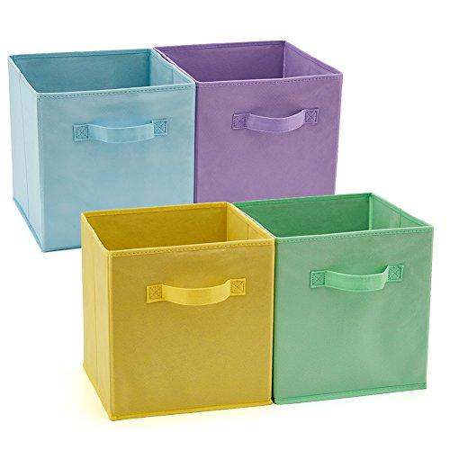 EZOWare Boîtes de Rangement Ouvertes en Textile Non-Tissé, Cube, Carré, Pliable, Tiroir en Tissu, Pack de 4, pour Linge, Jouets, Vêtement, Disques DVD etc. (Couleur assortie) 26.7 x 26.7 x 28 cm