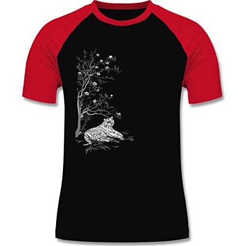 Vintage - Tiger Kirschblüten Baum - zweifarbiges Baseballshirt für Männer Schwarz/Rot