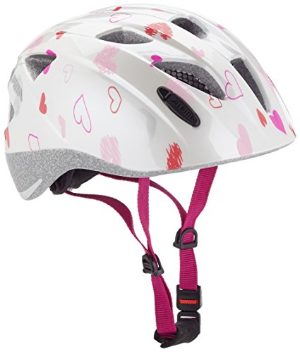 ALPINA Mädchen Ximo Fahrradhelm, White-Hearts, 47-51 cm