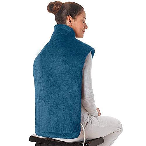 WJHW Heizkissen mit Abschaltautomatik für Rücken Nacken Schulter | Elektisches Wärmekissen mit Vibration Funktion | Rückenheizkissen & Nackenwärmer mit 2 Heizstufen und 4 Massagestufen,Blue