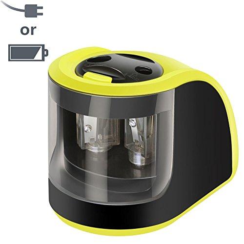Sacapuntas Eléctrico Carga por Adaptador y Batería, Upeffeet Convent 2 agujeros de diferentes tamaños Sacapuntas Eléctrico para Escritorio