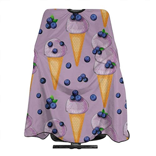 Blueberry Icecream In A Cone Pattern Professional Salon Haircut Apron Hair Cut Cape For Styling Hair Cut Hairdresser 55 X 66 Inch