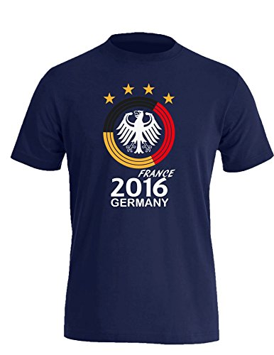 Deutschland EM 2016 Kreismotiv - Herren Rundhals T-Shirt Navy/W-Schwarz-Rot-Gelb