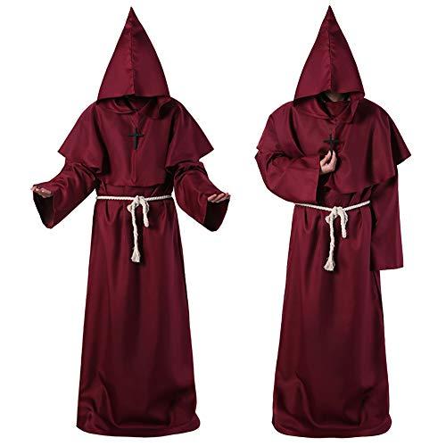 Priester Kostüm Rote Der - FZTX-LPX Halloween Cosplay Kostüm Mittelalter Mönch Kostüm Mönch Robe Hexe Kostüm Priester Kostüm Christian Anzug,Rot,S