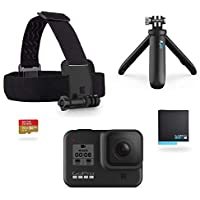 GoPro HERO8 Black Bundle - inklusive Shorty Stativ, Speicherkarte, Kopfbügel und Akku (Holiday Kit)